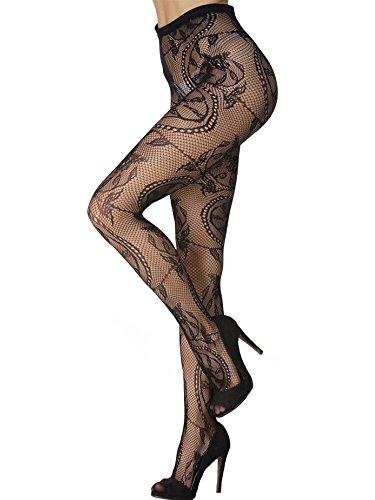 Sexy Nylon Fishnet Pantyhose (Women Fishnet Stocking Pantyhose Sexy Charming Pattern Thigh Hi Black Lace Tights (Floral Pattern))
