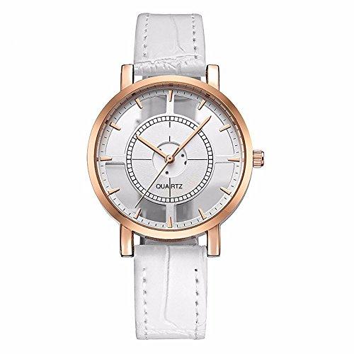 (WoCoo Womens Watch Stylish Double Hollow Lady Watches Elegant Analog Quartz Wristwatch Gifts for Girls(White))