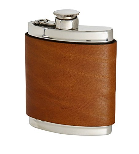 Wentworth Pewter- English Tan Leather Pewter Kidney Flask,Hip Flask, Spirit Flask, 6oz Capacity, with Captive top