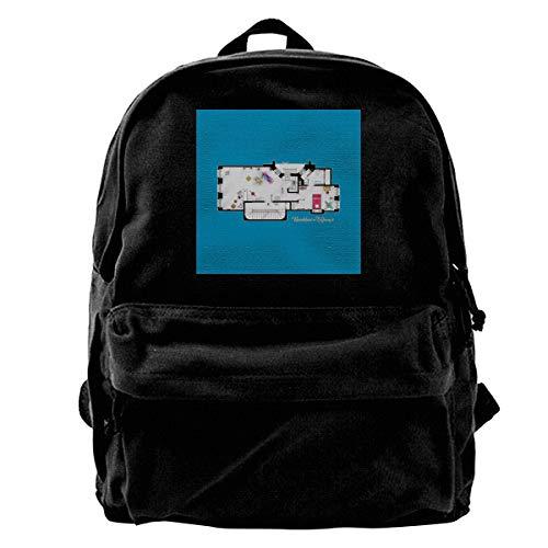 MIJUGGH Canvas Backpack Breakfast at Tiffanys Hollys Apartment Floor Plan Rucksack Gym Hiking Laptop Shoulder Bag Daypack for Men Women