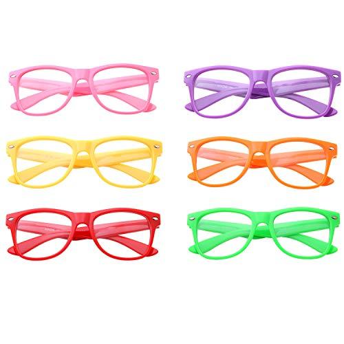 Pack of 6, Kids Nerd Fake Glasses Clear Lens Small Frame Children's (Age 3-10)