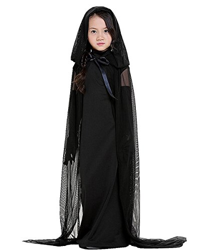 Halloween Witch Costumes for Children Cloak Hooded Cosplay Fancy Dress Ghost Black Angle
