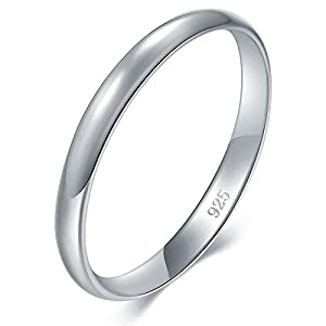 BORUO 925 Sterling Silver Ring High Polish Plain Dome Tarnish Resistant Comfort Fit Wedding Band 2mm Ring 4-12