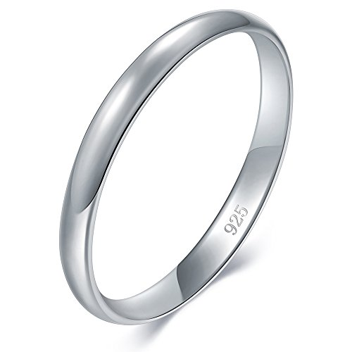 BORUO 925 Sterling Silver Ring High Polish Plain Dome Tarnish Resistant Comfort Fit Wedding Band 2mm Ring Size - Band Rhodium Wide Ring
