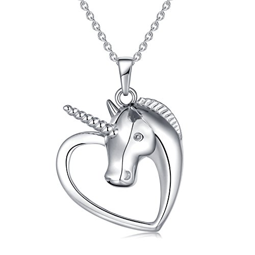 (Unicorn Necklace Sterling Silver Long Chain Flying Moon Unicorn Gifts Christmas Gifts for Women Girls)