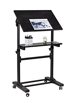 Mount-It! Mobile Stand Up Desk, Podium, Presentation Lectern Height-Adjustable Multi-Purpose Standing Workstation
