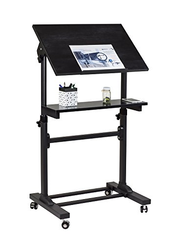 Speaker Stand Lectern (Mount-It! Mobile Stand Up Desk, Portable Podium and Presentation Lectern Height-Adjustable Multi-Purpose Standing Workstation,Black.)
