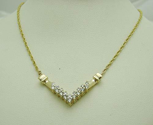 - 14K Yellow Gold 18 Diamonds Arrow Design Pendant & 20 5/8'' Chain Necklace SD-633