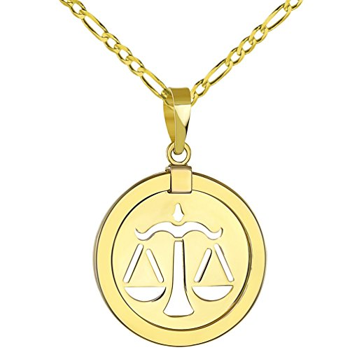 14K Yellow Gold Reversible Round Libra Scale Zodiac Sign Pendant with Figaro Chain Necklace, 24""
