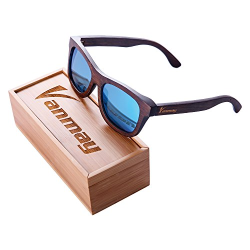 Vanmay Handcrafted Polarized Bamboo Sunglasses Retro Eyewear Wayfarer Style Brown Frame (Blue, - Sunglasses Bamboo Proof
