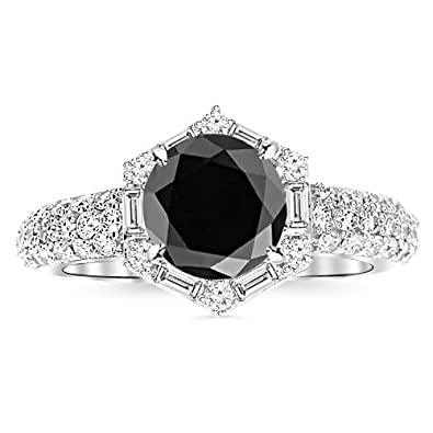 72bc75ebbd981 Hexagonal Contemporary Halo Round And Baguette Diamond Engagement ...