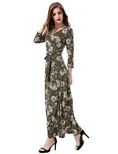 Aphratti Women S 3 4 Sleeve Vintage Wrap Long Maxi Dress