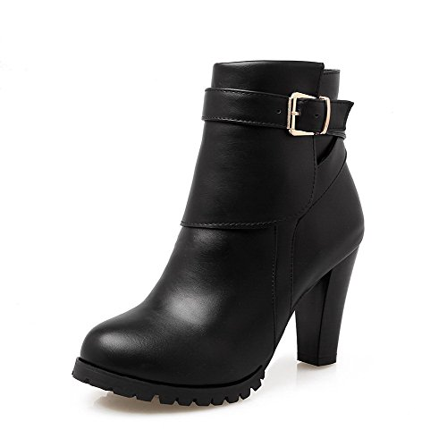 High Women's Boots Top Low Solid Closed Black Round Toe Heels AmoonyFashion ABxI6wqq