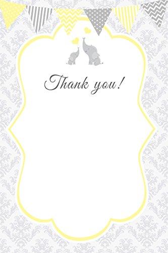 30 Blank Thank You Cards Yellow Grey Damask Vintage Chevron Stripes Polka Dots Elephant Design Baby Shower Party + 30 White Envelopes