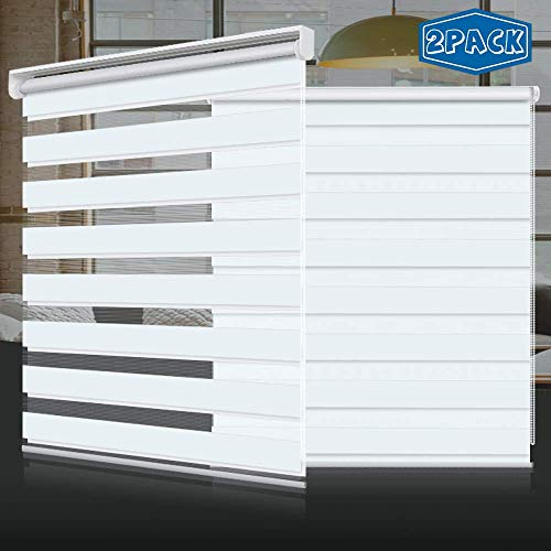 SEEYE Zebra Shade Blinds Horizontal Window Curtain Day and Night Blind Dual Layer Shades Easy to Install 27.6