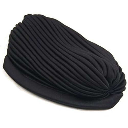 SWT Black Fashion Turban Funky Headwrap - Ideal for Hair Loss/Chemo/Fashion Use - Indian Style
