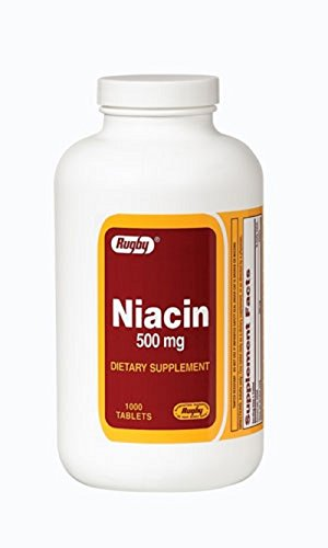 1000 Rugby (NIACIN 500MG TAB NIACIN-500 MG white 1000 TABLETS UPC 005364078108)