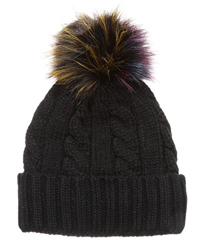 MIRMARU Winter Cable Knitted Faux Fur Multi Color Pom Pom Beanie Hat with Soft Fur Lining(R27A-Black) (Knitted Beanie Hat Pattern)
