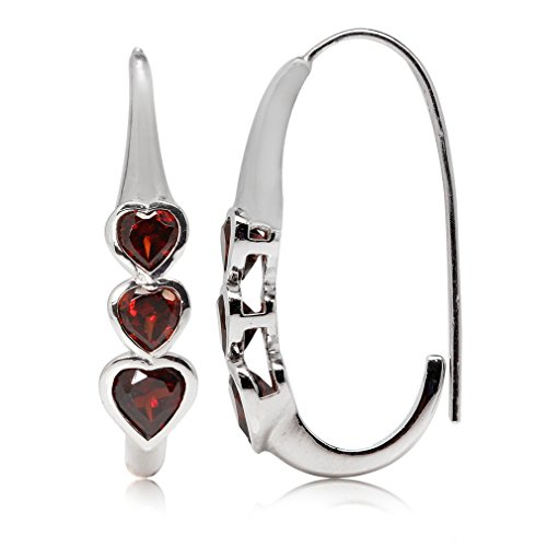 (2.46ct. 3-Stone Heart Shape Natural Garnet White Gold Plated 925 Sterling Silver Hoop Earrings)
