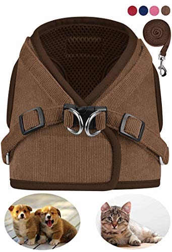 GAUTERF Dog and Cat Universal Harness with Leash Set, Escape Proof Cat Harnesses - Adjustable Reflective Soft Mesh Corduroy Dog Harnesses - Best Pet Supplies (Small, Brown) from GAUTERF