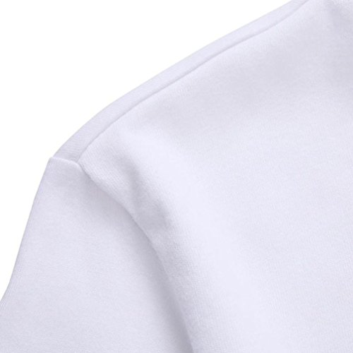 Camiseta de manga larga, Oyedens Hombres más la camiseta larga de la manga de la impresión de la camiseta blusa Blanco