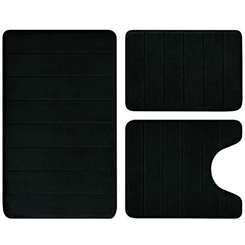 BYSURE Black Bathroom Rug Set 3 Piece Non Slip Extra Absorbent Shaggy Memory Foam Bathroom Mats and Rugs Sets, Soft…