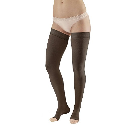 Ames Walker AW Style 292OT Luxury Opaque 20-30 mmHg Firm Compression - Open Toe Thigh High Compression Stockings w Dot Silicone Band Black XXL - Aids Blood Circulation - Unisex by Ames Walker