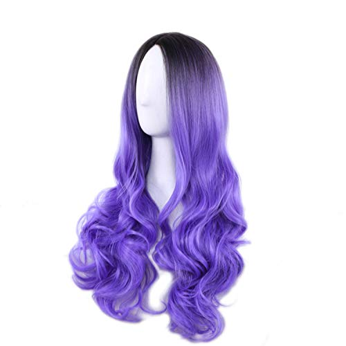 """23"""" Natural Full Wigs Hair Long Wavy Wig Synthetic Heat Resistant (Ombre Purple)"""