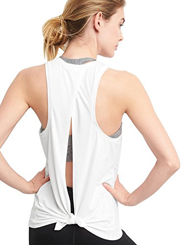 Bestisun Women's Runnning Open Back Summer Fall Backless Shirt Open Back Sexy Short Tshirts Beach Casual Tank Top Medium White - Back White T-shirt