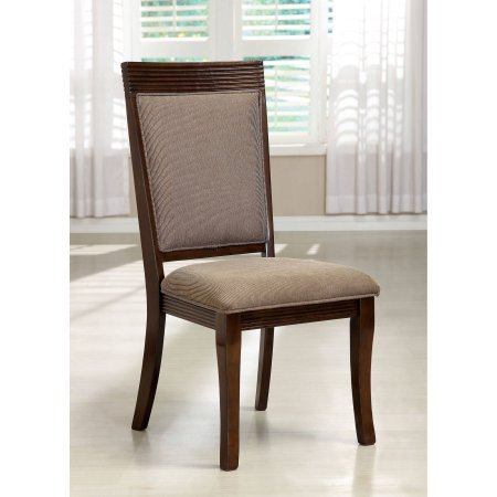 Furniture of America Morgen Contemporary Formal Dining Chair, Walnut, 2pk