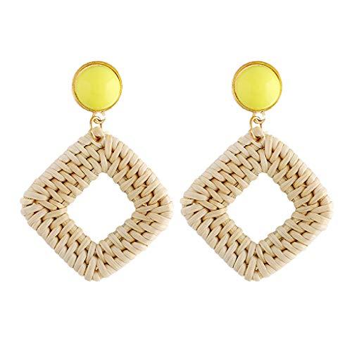 Straw Earrings Rattan Earrings Women's Girl Handmade Wicker Declaration Earrings