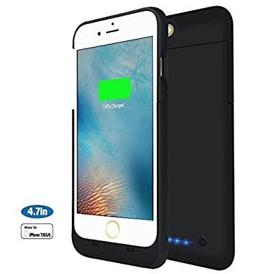 iPhone 7 Battery Case, MAXNON Portable Ultra Slim Battery Charging Charger Case 3200mAh Rechargeable Extended Battery Charger Power Bank Cover for iPhone 7,6S,6(4.7 Inch) [MFi Certified] (Black)