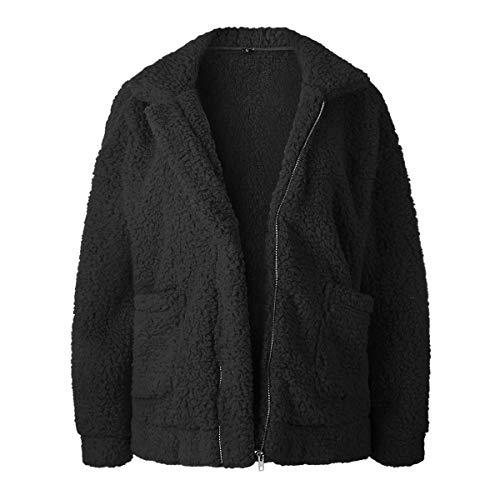 Femmes Pour Poche Black Manteau Avec Surdimensionné De Survêtement Puseky Wg0fY4qn