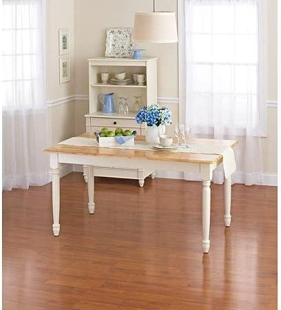 Better Homes and Gardens Autumn Lane Farmhouse Dining Table, White and Natural by Better Homes Gardens