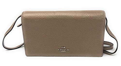 Coach Foldover Clutch Wallet Pebbled Leather Crossbody Bag F30256 (Metallic ()