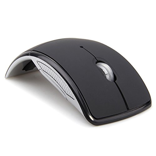 MEMTEQ 2.4 GHz Wireless Foldable Folding Mouse Mice, Arc Optical USB Mouse w/Receiver for Computer/Laptop (Black)