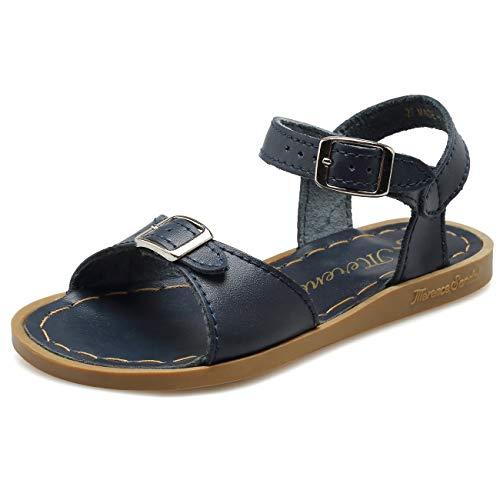 WALUCAN Girl's Leather Sandals Open-Toe Adjustable Flat Sandal Casual Shoes Outdoor and Indoor (Toddler/Little Kid/Big Kid/Women's) Navy