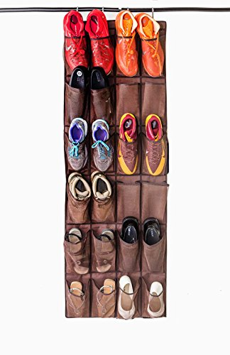 Mirella's House LARGE SHOE ORGANIZER Door Shoe Rack, Sneaker Rack, Men's Shoe Organizer for Big Shoes to Neaten Up Your Closet and as an Entryway Organizer (Bison Brown) ()