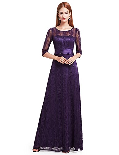 Ever-Pretty Womens Long Sleeve Lace Mother Of The Bride Dress 4 US Dark Purple