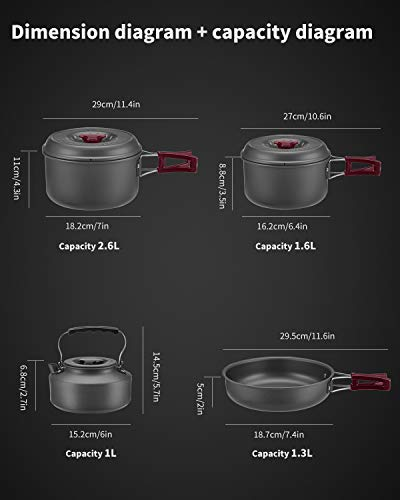 BULIN 13 Piece Camping Cookware Mess Kit Outdoor Backpacking Hiking Gear Cooking Equipment, Lightweight Compact Durable Cook Set, Including Pot, Frying Pan, Kettle, Carry Bag and More