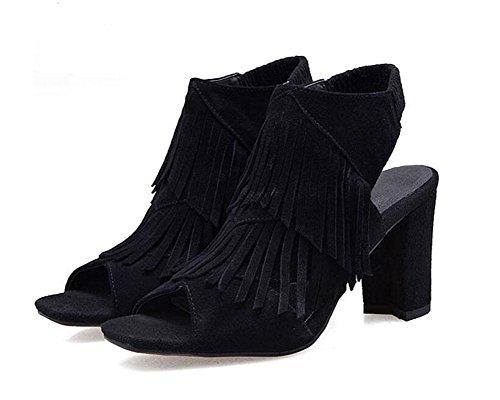 GLTER Mujeres Peep Toe tobillo Strap bombas de tacón alto femenino de piel de borlas de borla sandalias Mules black