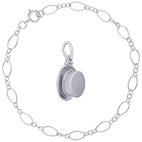 Rembrandt Charms Sterling Silver Top Hat Charm on a Figaro Link Bracelet, 8