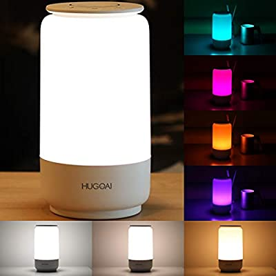 HUGOAI LED Table Lamp, Bedside Lamp, Night Light for Bedroom with Dimmable Whites, Vibrant RGB Colors and Memory Function, No Flicker