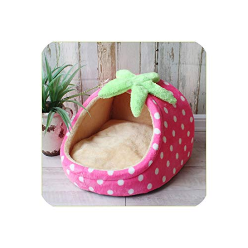 Pet Bed Dog House Kennel Doggy Warm Cushion Basket for Small Medium Dogs Strawberry Cave Cat Tent Puppy Nest Mat,Strawberry,45X41X28 cm