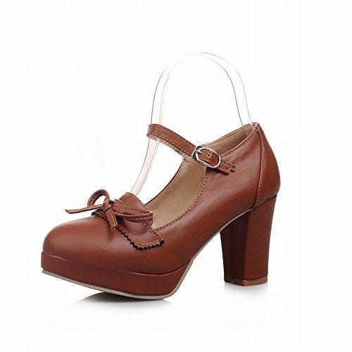 Latasa Damesmode Boog Ruig High-heel Platform Mary Janes Schoenen, Pumps Schoenen Bruin