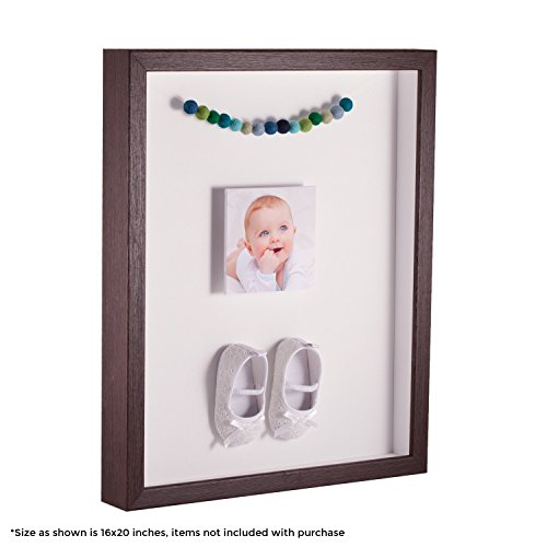 ArtToFrames 12 x 24 Inch Shadow Box Picture Frame, with a Verlinga Brown 1'' Shadowbox Frame and Porcelain Mat