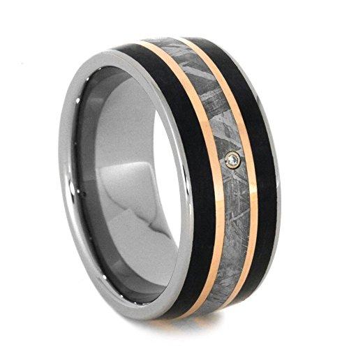 Diamond, Gibeon Meteorite, 14k Rose Gold, Petrified Wood 9mm Comfort-Fit Titanium Wedding Band , Size 10 by The Men's Jewelry Store (Unisex Jewelry)