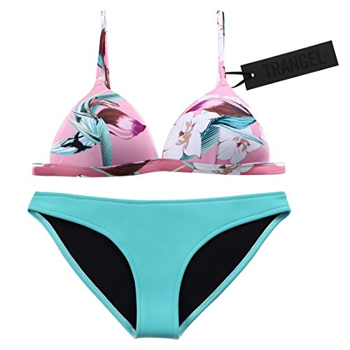 Trangel Neoprene Bikini In Candy Pink Lemon Navy Floral Swimsuit Swimwear Aquamarine XL(US8-10)