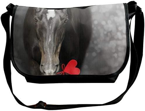 メッセンジャーバッグ ショルダーバッグ 心で黒い馬 斜めがけ ワンショルダー バック カバン キャンバス 大容量 超軽量 学校 旅行 メンズ レディース 正規品