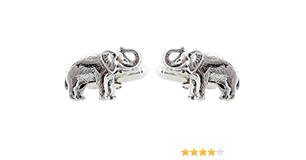 Antique Silver Elephant Cuff Links Tie Bar Clip Men/'s Accessories Gift for Boyfriend Husband Son Nephew Grandfather Wildlife